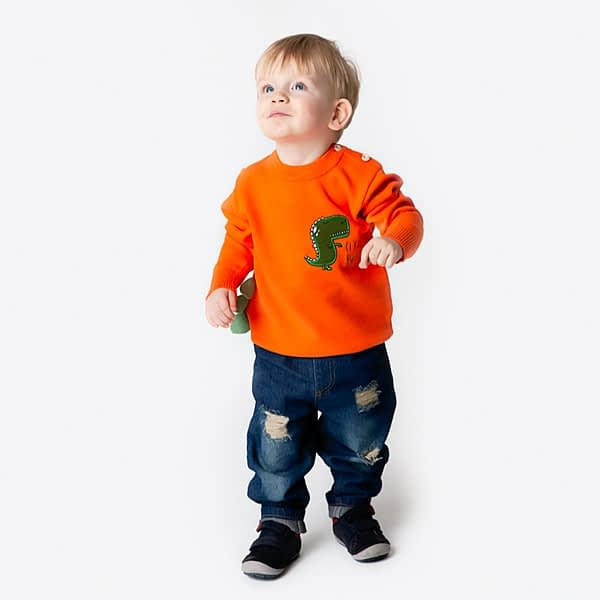 baby boy and toddlers orange knitted dinosaur jumper