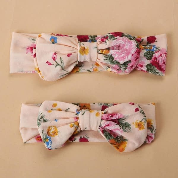 mummy and baby family matching pink floral headbands