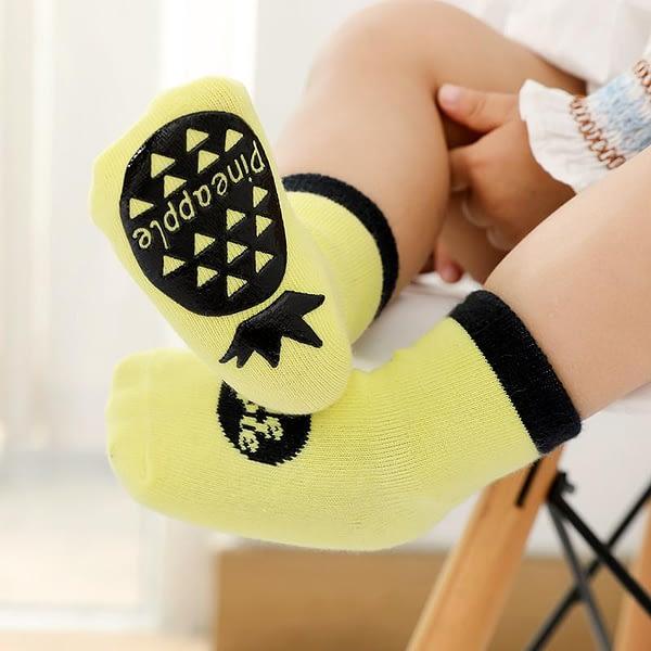 yellow fruit splash gripper socks