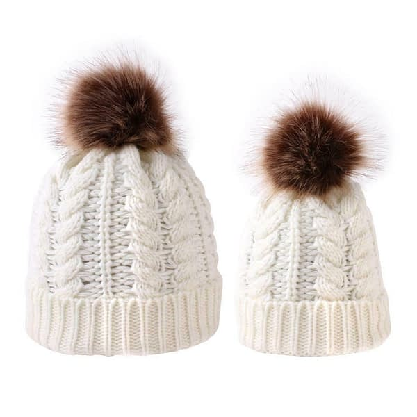 family matching mum and baby cream knitted woolly fur ball hats