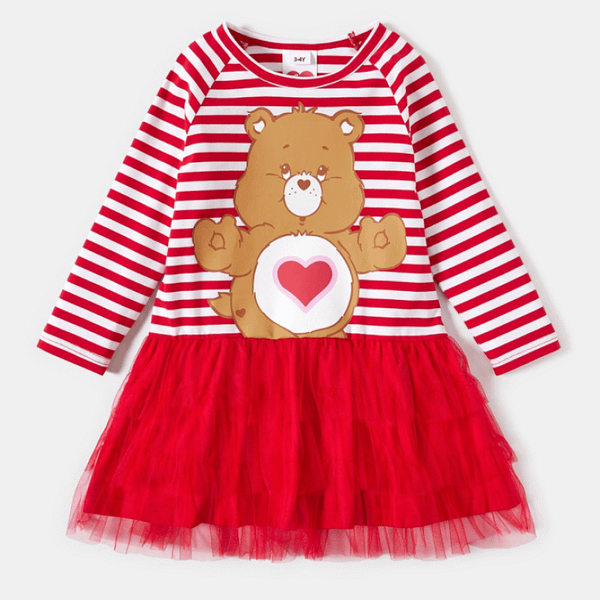 Toddler girls red and white striped Care Bears dress with tutu