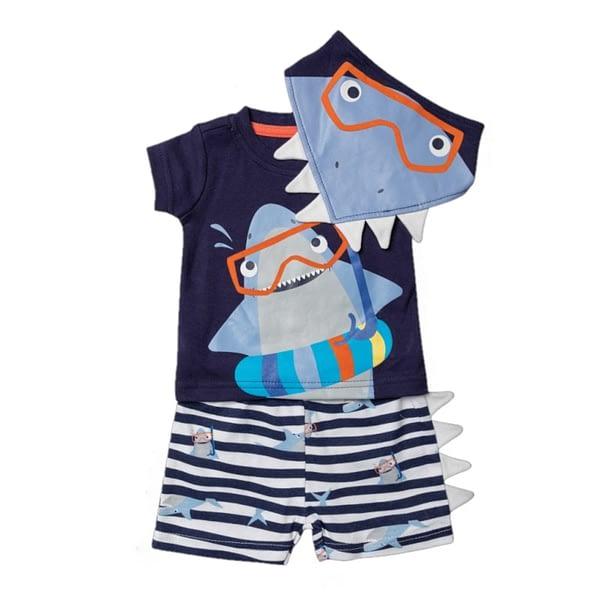 baby boys shark print t-shirt-shorts& bib 3 piece set by lily and jack