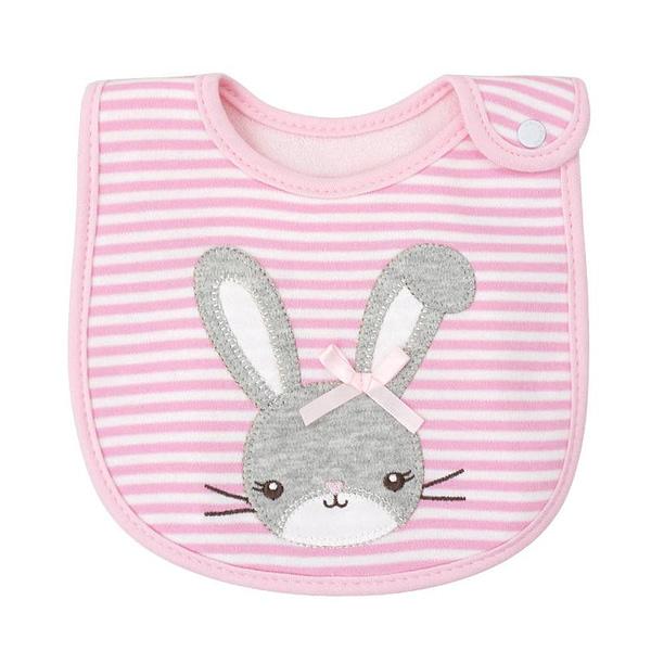 baby girls pink stripe bib with a rabbit