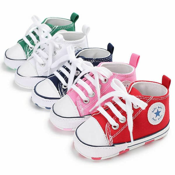 babies colourful lace up canvas trainers