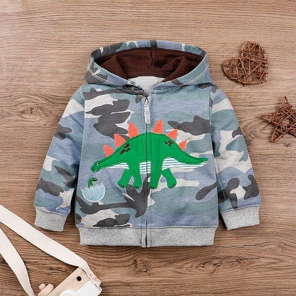 baby and toddlers grey camouflage hoodie top with dinosaur
