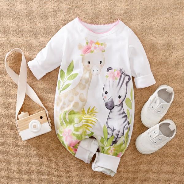 girls white giraffe and zebra print 100% romper suit with pink hem