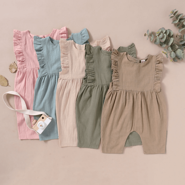baby girls army pastel ruffle detail linen romper suit