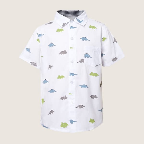 boys white dinosaur print short sleeve occasion shirt