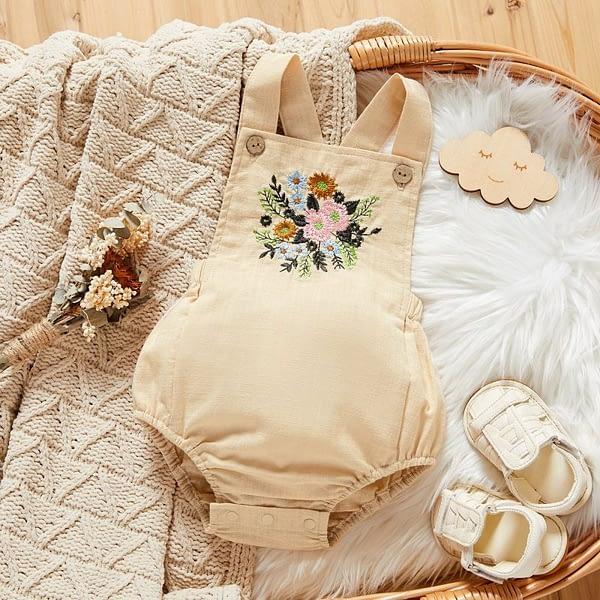 baby girls beige linen floral sleeveless romper suit