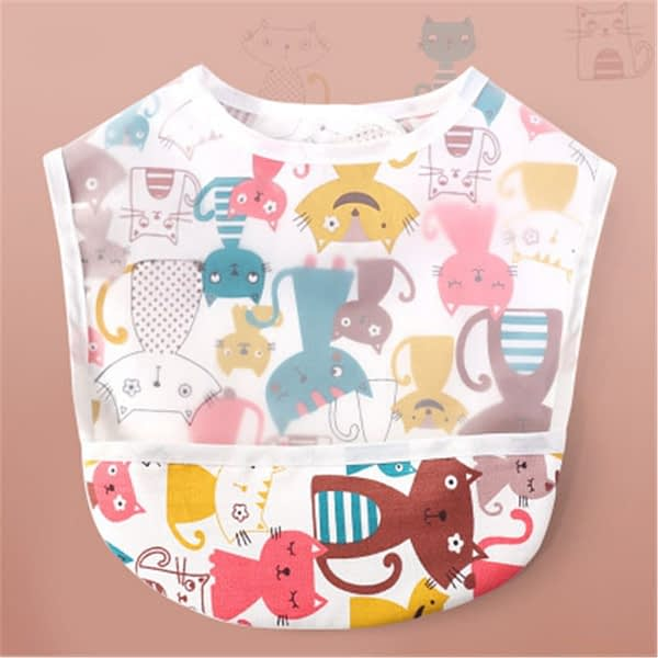 colourful cat print waterproof bib for babies and toddlers