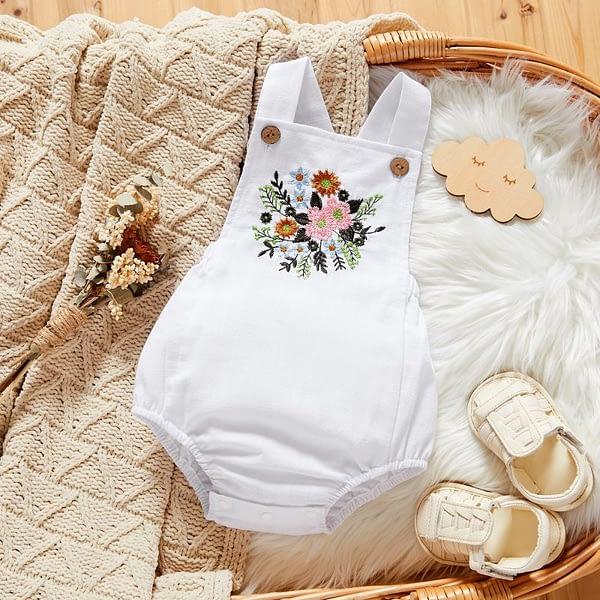 baby girls white linen sleeveless romper suit