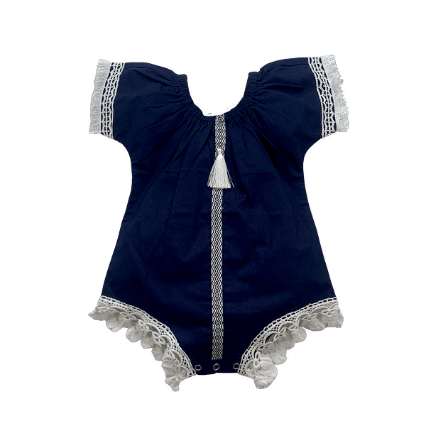 baby and toddler girls boho style navy blue romper with white lace and tassles