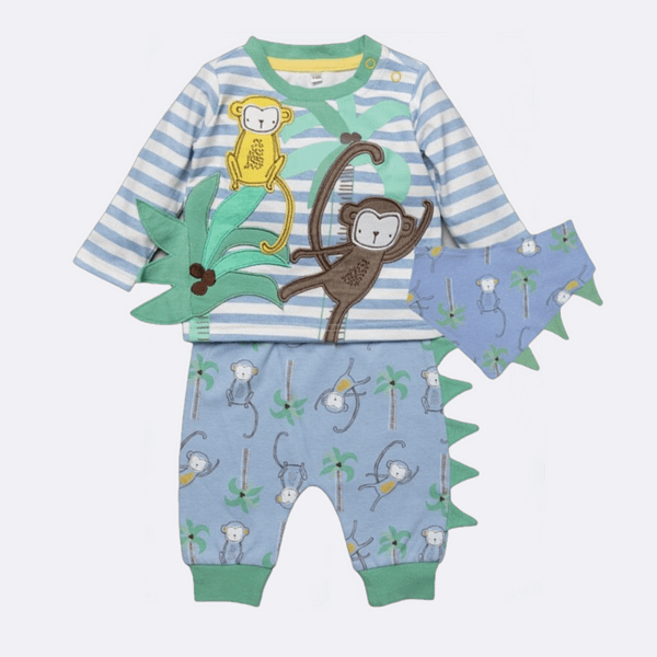 baby boys blue stripe long sleeve 3d monkey top with matching pants and bib set by lily and jack