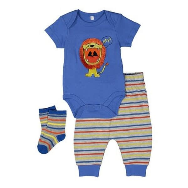 lilly and jack baby boys 3 piece set lion blue bodysuit, pants and matching socks