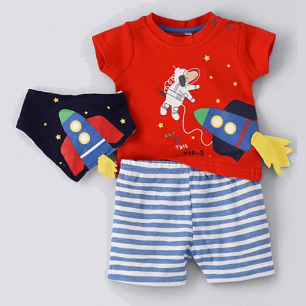baby boys red space rocket 3d t-shirt with blue and white stripe shorts and matching bib by lily and jack