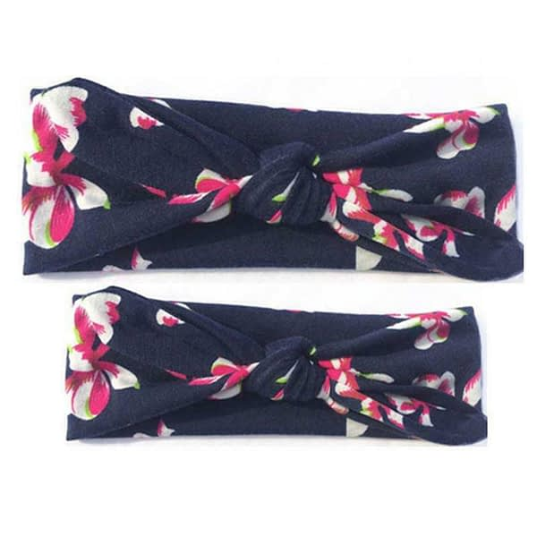 family matching mummy and baby navy blue floral headbands