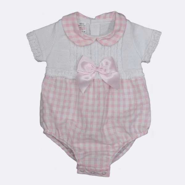 baby girls Bee Bo Spanish style pink check knit romper