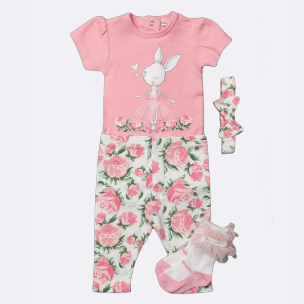mini mois baby girls pink bunny rabbit ballerina 4 piece set