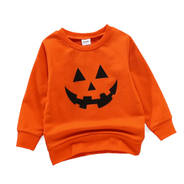 toddler kids unisex orange halloween spooky pumpkin face jumper