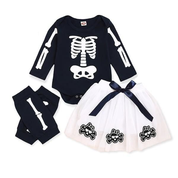 baby girls 3 piece halloween skeleton tutu set