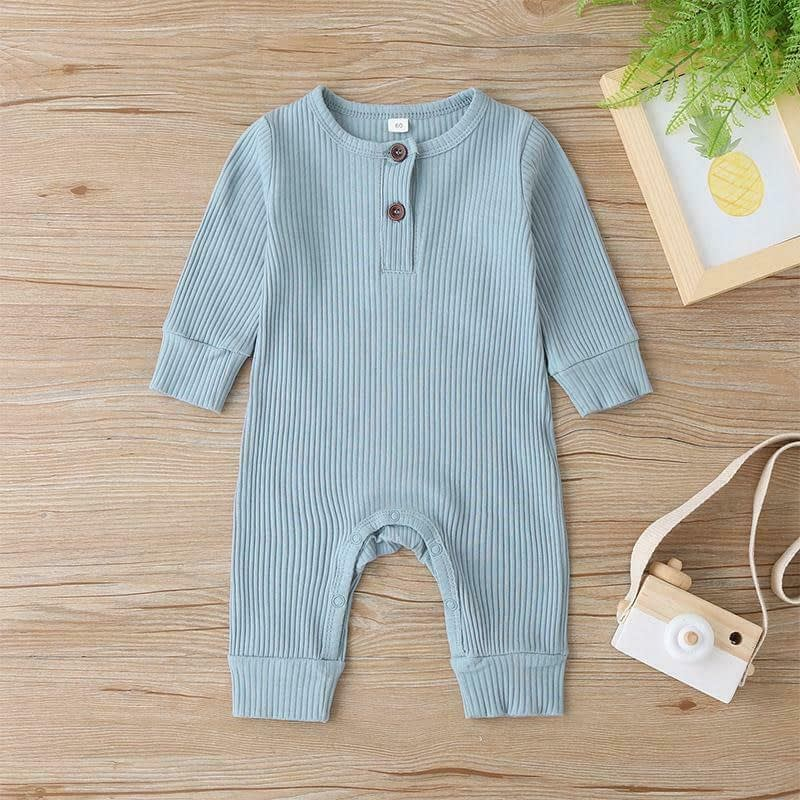 baby girl or boy blue cotton cardigan style ribbed buttoned all in one romper suit