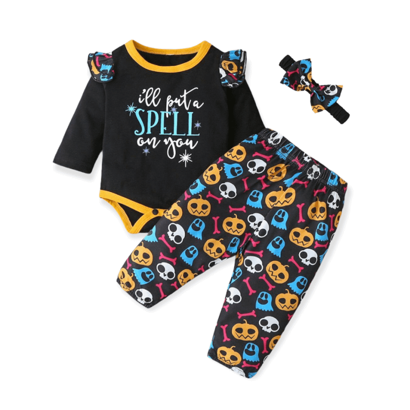 baby and toddler girls 3 piece halloween spell outfit set
