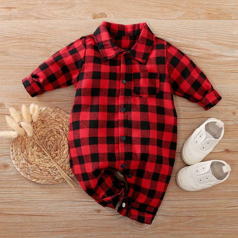 Red & Black Check Shirt Romper Suit
