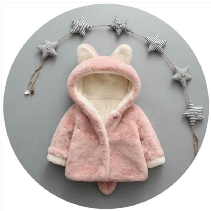 childs pink faux fur coat with bear ears and tail