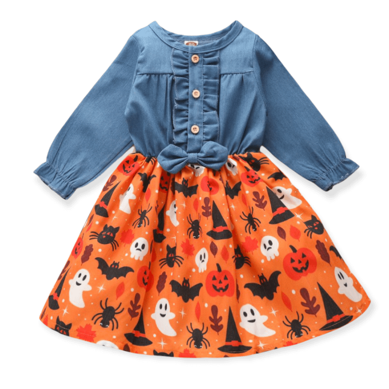 Denim Ruffle Spooky Print Halloween Dress