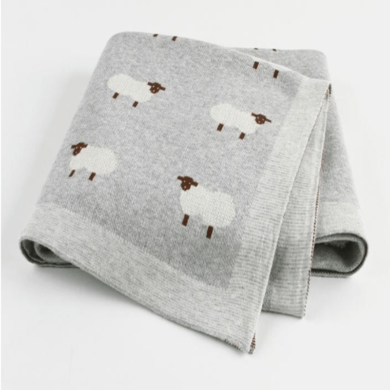 grey lamb cotton knitted baby blanket