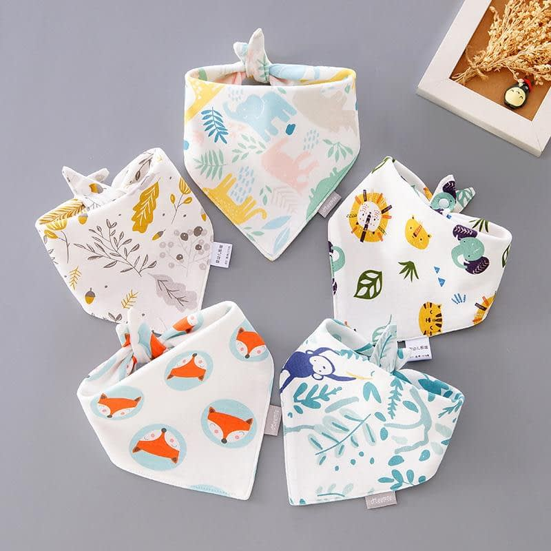 baby girl or boy multipack of 5 animal print including fox, tiger, elephant and monkey neckerchief bibs