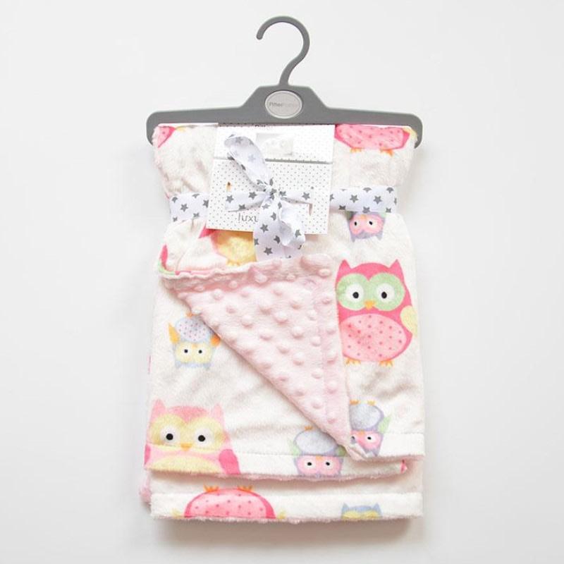 pink owl print cosy reversible baby blanket