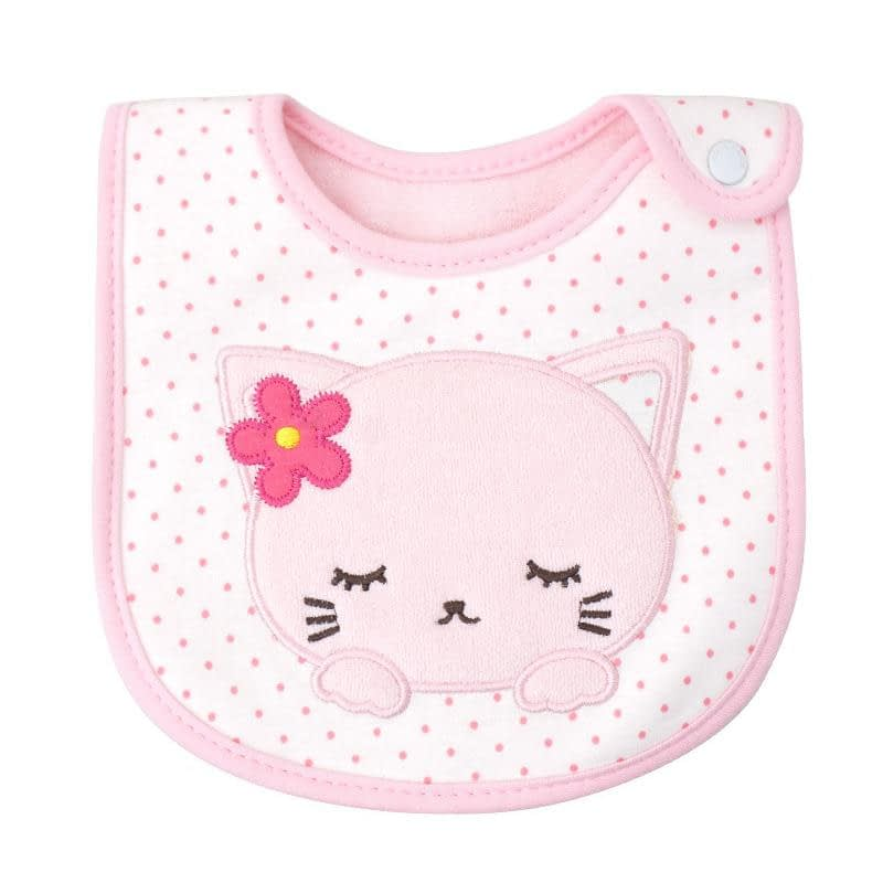 baby girls pink kitten bib