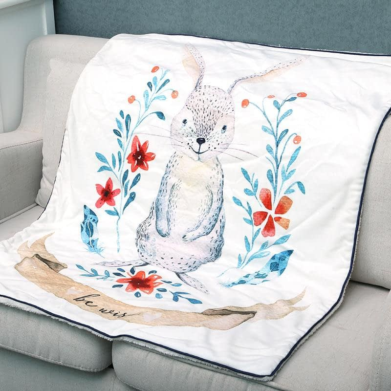 white cotton fleece rabbit print baby blanket