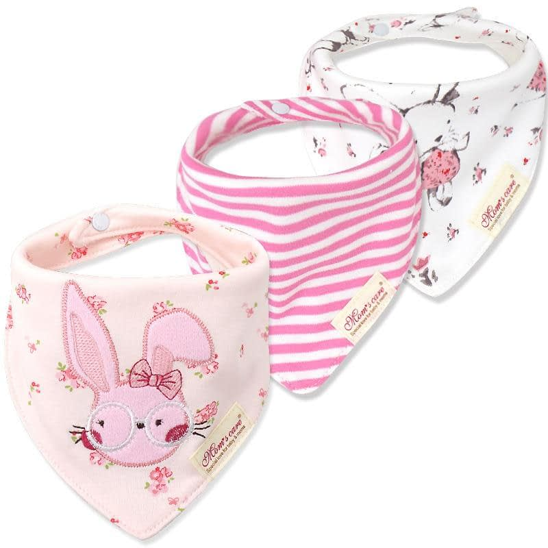 baby girls pink mutipack set of 3 bunny rabbit neckerchief bibs