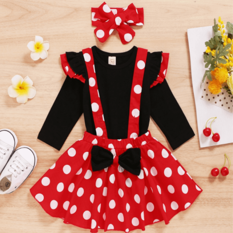 baby girls red and black minnie mouse style dress outfit