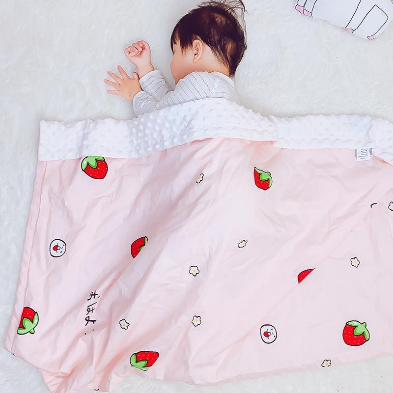 pink strawberry print baby blanket