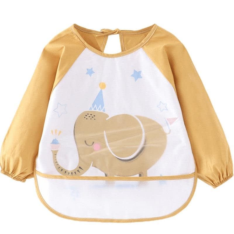 baby and toddler white and gold waterproof coverall apron bib with long sleeves and elephant print