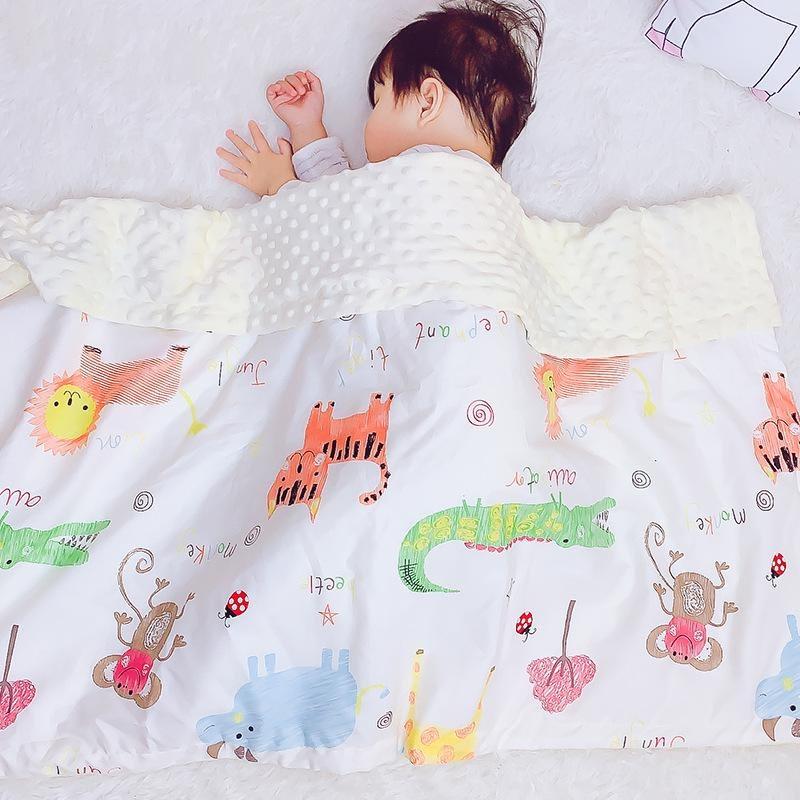 cute jungle animal print reversible baby blanket