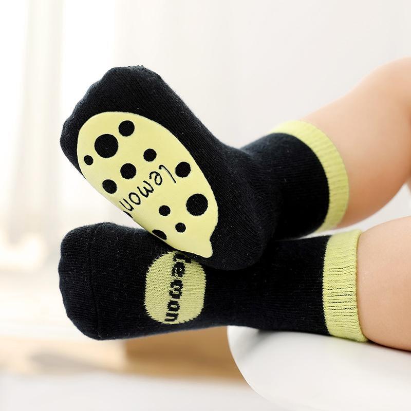 black fruit splash gripper socks