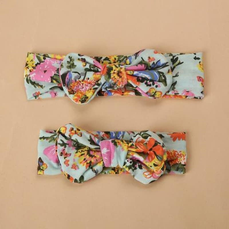 family matching mum and baby green floral headband set