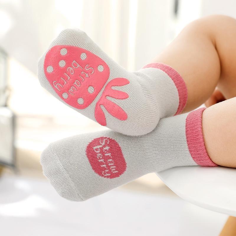 light grey fruit splash gripper socks