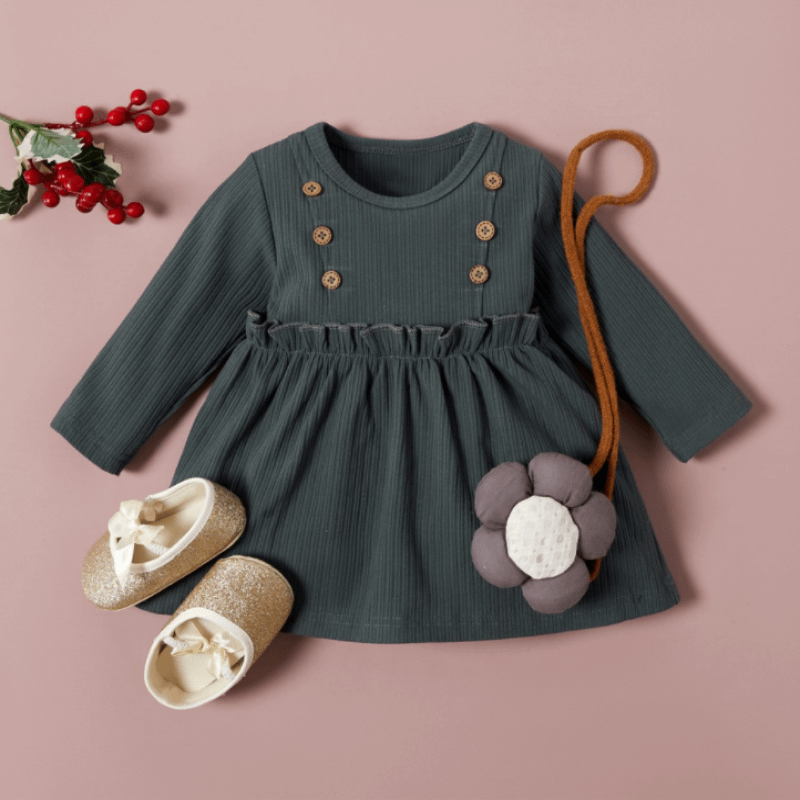 baby and toddler girl grey long sleeve ruffle detail dress