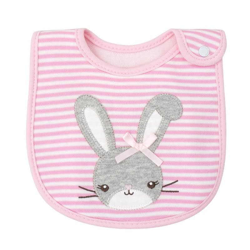 baby girls pink stripe bib with a rabbit