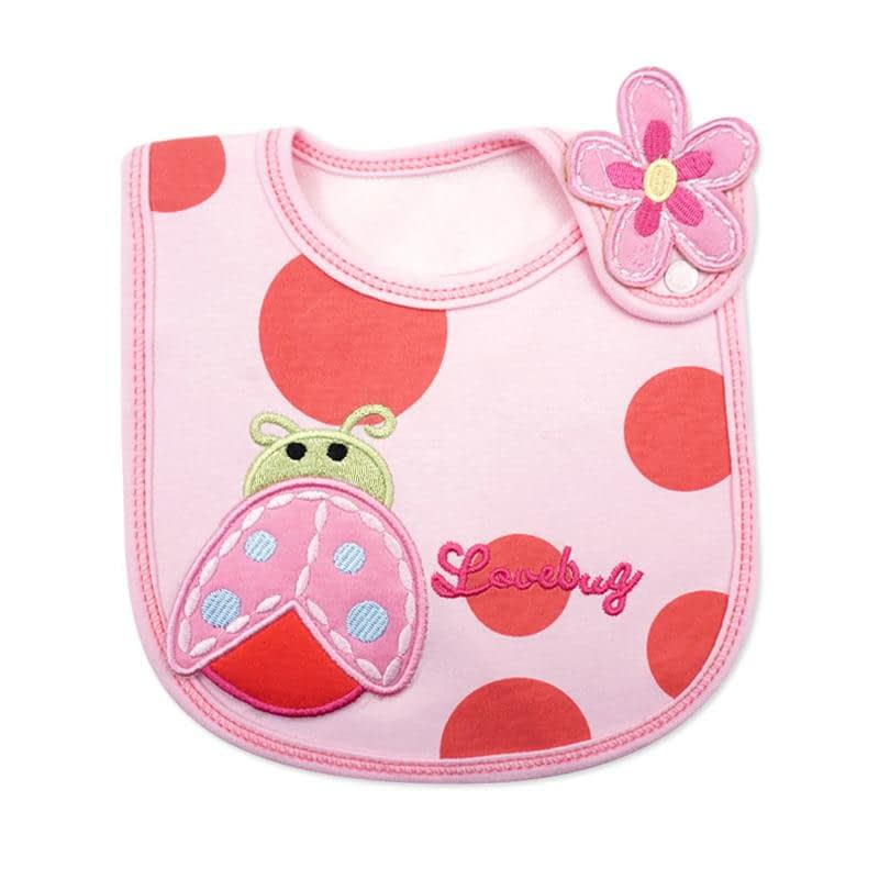 baby girls pink and red bib with love bug and flower
