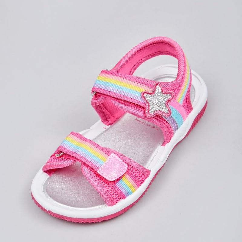 pink rainbow ribbon glitter sandals