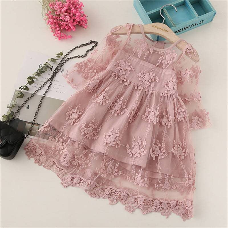 young girls dusty pink long sleeve lace occasion dress