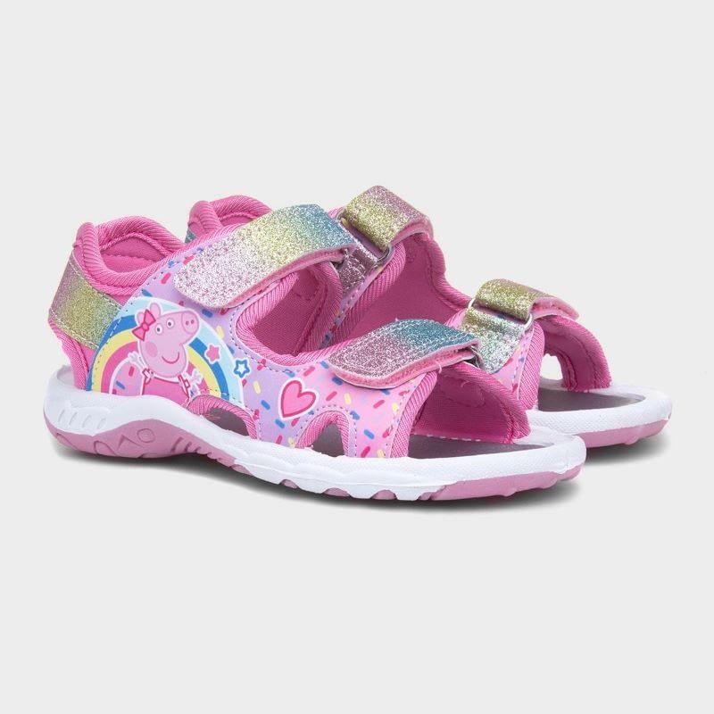girls pink glitter peppa pig sandals