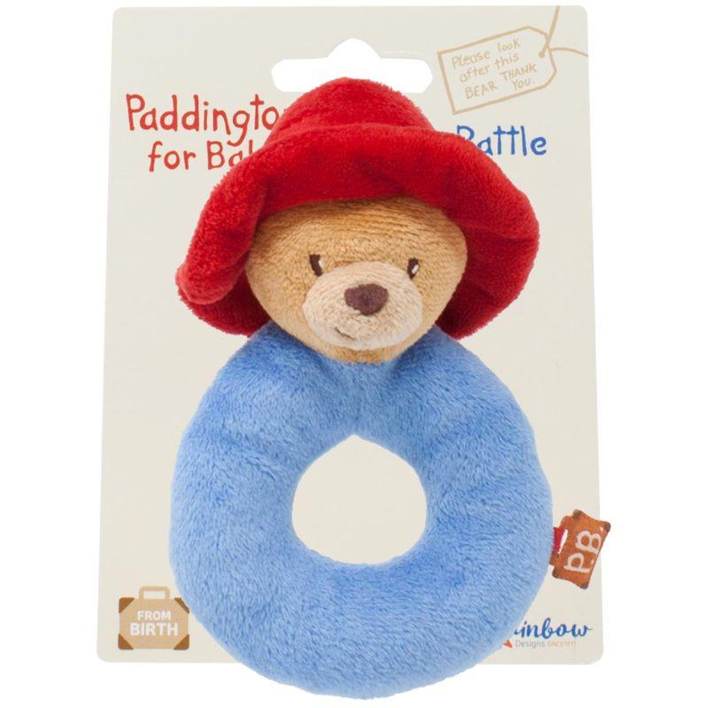 Babies Paddington Bear soft plush ring rattle toy