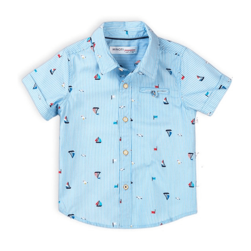 boys blue stripe short sleeve shirt with sail boats